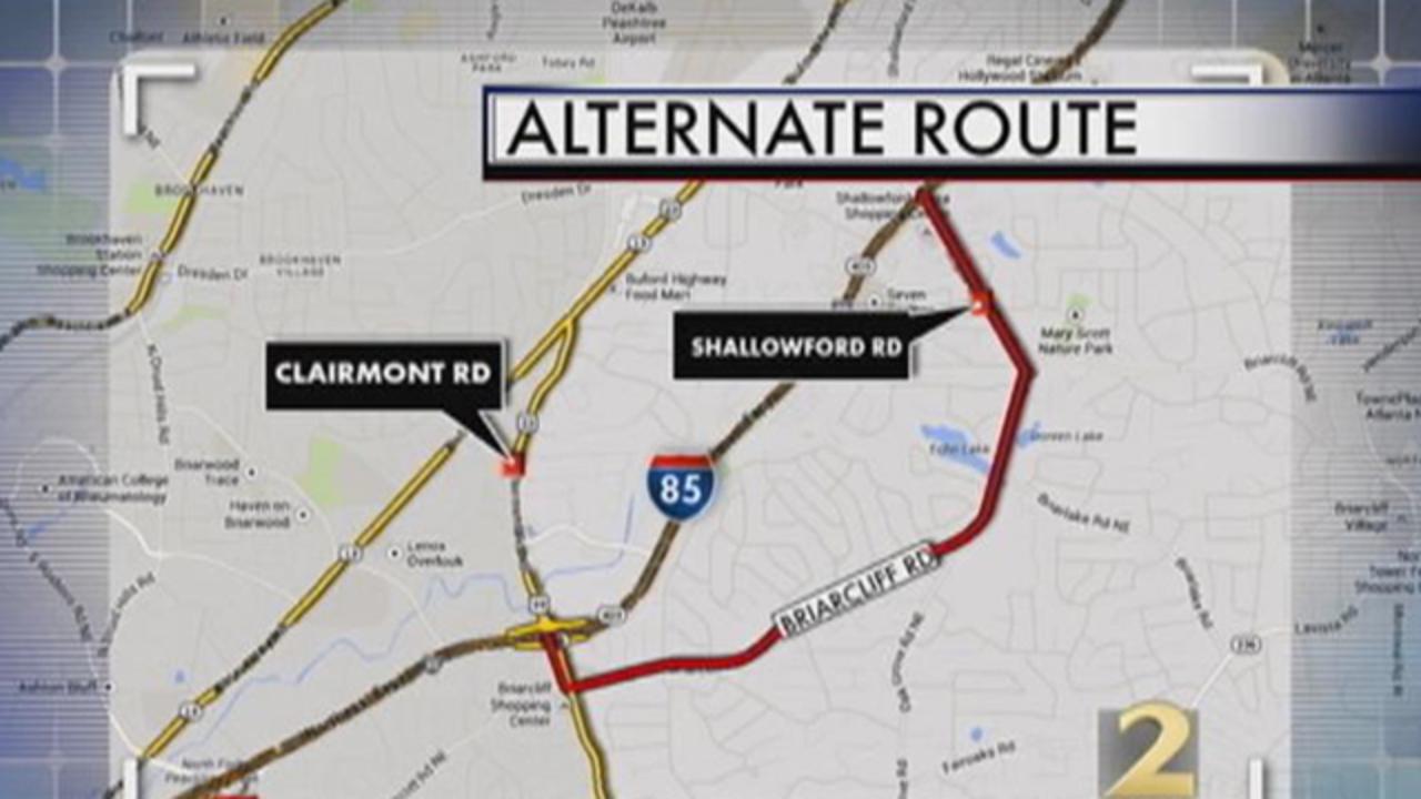 I 85 Collapse Atlanta Map.I 85 Sb Lanes Closed For Sinkhole Repairs Through Wednesday Wsb Tv