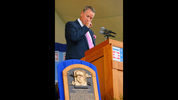 Braves pithcer Tom Glavine fights back his emotions as he takes the podium for his speech during the National Baseball Hall of Fame Induction Ceremony at Clark Sports Center on Sunday, July 27, 2014, in Cooperstown, N.Y.