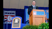 Inductee Greg Maddux gives his speech at Clark Sports Center during the Baseball Hall of Fame induction ceremony on July 27, 2014 in Cooperstown, New York. Maddux won 355 games and four consecutive National League Cy Young awards (1992-95) during his 23 year career.