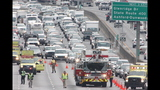 All westbound lanes of I-285 in Sandy Springs were shut down at Roswell Road early Jan. 22, 2015 due to a fatal pedestrian accident. JOHN SPIN_8363459