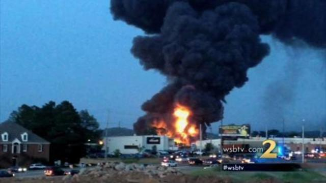 Massive fire destroys Marietta chemical warehouse   WSB-TV