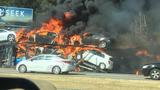 Tractor-trailer fire starts brush fires along I-85 in Gwinnett County