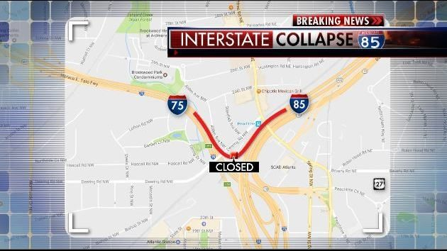 Map Of I 85 Georgia.Atlanta Bridge Collapse Alternate Routes To Get You Around The I 85