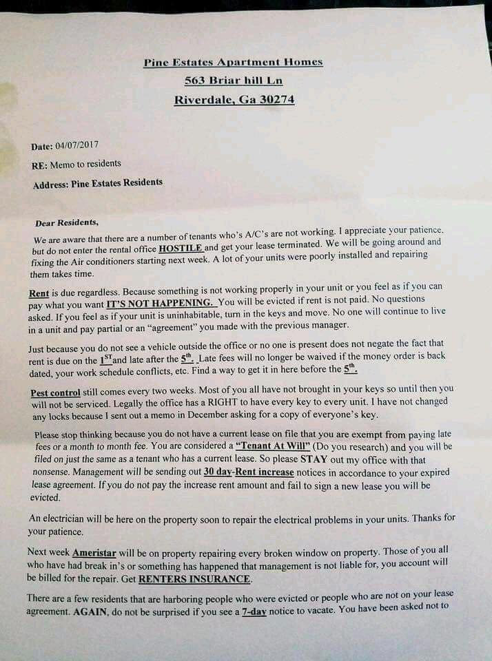 Residents Outraged By Rude Letter From Apartment Manager