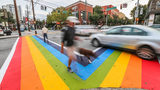 Rainbow crosswalks were painted at 10th Street and Piedmont Avenue, considered the hub of Atlanta's LGBT community. JOHN SPINK / JSPINK@AJC.COM