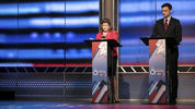 Candidates in Georgia's 6th Congressional District race Republican Karen Handel, left, and Democrat Jon Ossoff prepare to debate.