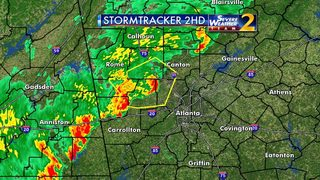 Strong storms moving through NW Georgia