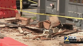 Part of building collapses onto Atlanta sidewalk