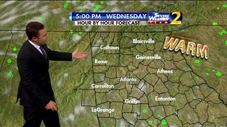 Partly cloudy sky, few sprinkles through afternoon