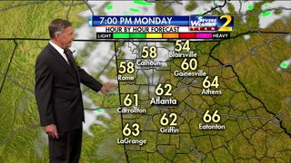 Skies clearing. temperatures in the low 60s for Monday evening