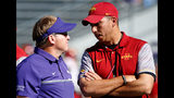 Head coach Gary Patterson of the TCU Horned Frogs , left, meets with head coach Matt Campbell of the Iowa State Cyclones, right, before Saturday's game at Amon G. Carter Stadium on September 17, 2016 in Fort Worth, Texas.