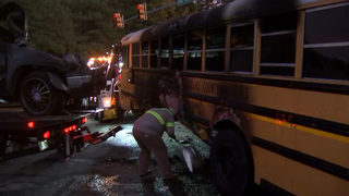 """I told the kids to just run"" Hero school bus driver describes fiery crash"
