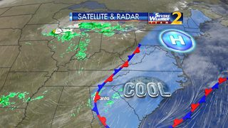 Rain, cool air to move out overnight - Sun returns Monday