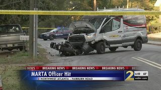 MARTA police officer hit by vehicle, taken to hospital