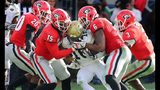 Linebacker Natrez Patrick (No. 6 in red) was one of two UGA players arrested Saturday night after the SEC championship game.