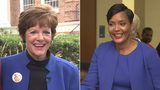 Mary Norwood and Keisha Lance Bottoms were all smiles after casting their votes for Atlanta mayor on Dec. 5, 2017.