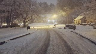 Light snow, slippery roadways through the morning