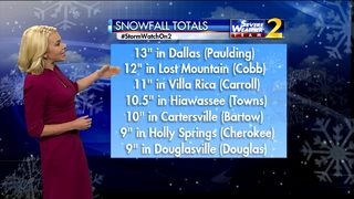 Parts of metro Atlanta see more than 1 foot of snow from Friday storm