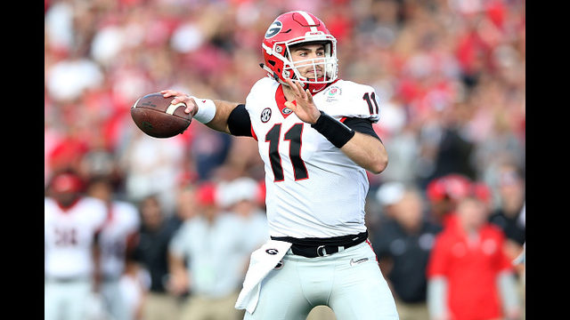 Jake Fromm  11 of the Georgia Bulldogs throws a pass in the 2018 College  Football Playoff Semifinal at the Rose Bowl Game presented by Northwestern  Mutual ... 0aa7e58f3