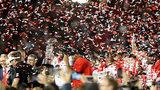 Roquan Smith celebrates after winning Rose Bowl in Pasadena