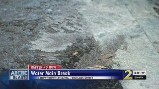 Watermain break turns street to ice in downtown Atlanta