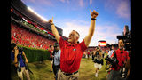 ATHENS, GA - SEPTEMBER 28: Head Coach Mark Richt of the Georgia Bulldogs celebrates after the game against the LSU Tigers at Sanford Stadium on September 28, 2013 in Athens, Georgia. (Photo by Scott Cunningham/Getty Images)
