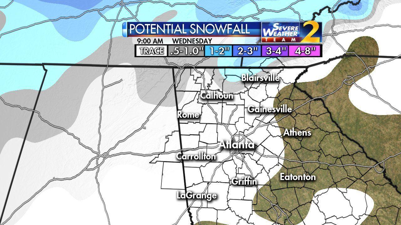 Snow Showers Expected Today Winter Weather Advisory To Go Into - 5 day forecast atlanta georgia