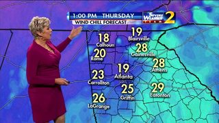 Sunny skies with wind chill temperatures in 20s Thursday afternoon
