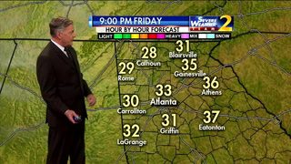 Clear sky, temperatures in lower 30s Friday evening