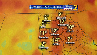 Temps 12 degrees warmer in Atlanta than 24 hours ago