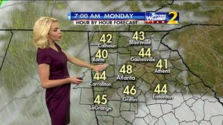 Temperatures in the 50s Sunday night