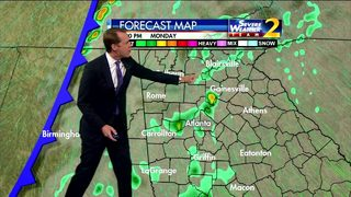 Showers moving through north Georgia