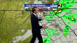 Showers to move out Monday night