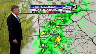 Widespread showers move through metro Atlanta Monday evening