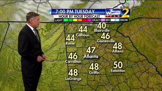 Mostly clear sky, temperatures in lower 40s Tuesday evening
