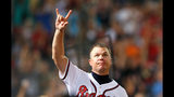 ATLANTA, GA - JULY 03: Chipper Jones #10 of the Atlanta Braves reacts after hitting a single in the eighth inning against the Chicago Cubs at Turner Field on July 3, 2012 in Atlanta, Georgia. (Photo by Kevin C. Cox/Getty Images)