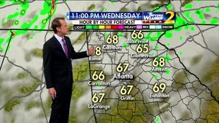 Mostly cloudy with a few isolated showers Wednesday evening