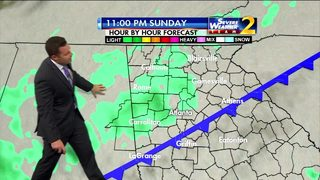 Clouds, waves of showers Sunday afternoon