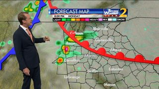 Strong, potentially severe storms by late in the day Monday