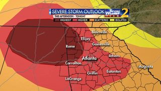 Highest severe weather risk area updated to include much of metro Atlanta