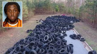Police search for man they say is behind massive tire dump