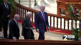 RAW VIDEO: Former presidents Bush, Clinton and Carter arrive at the funeral for Zell Miller