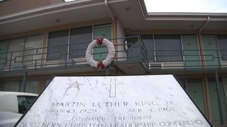 Crowds gather at motel where Dr. Martin Luther King, Jr. was killed 50 years ago