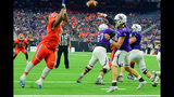 Sam Houston State defensive lineman P.J. Hall (92) gets in the face of Stephen F. Austin Lumberjacks quarterback Jake Blumrick (10) during the Battle of the Piney Woods football game between Stephen F. Austin and Sam Houston State on Oct. 7, 2017