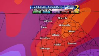 Widespread showers Sunday afternoon, into evening