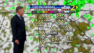 Isolated showers possible, temperatures in mid 60s Tuesday evening