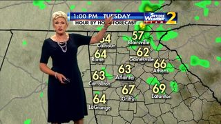 Showers, temperatures in upper 60s Tuesday afternoon