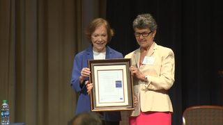Former first lady Rosalynn Carter receives award during mental health forum