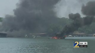 Dozens of boats destroyed, damaged in massive fire at marina on Lake Hartwell