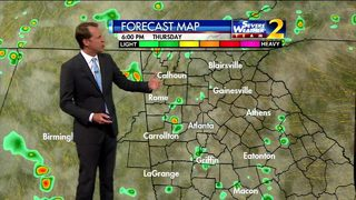 Scattered showers, few storms early Thursday evening